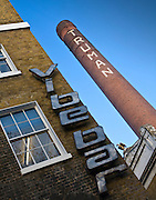 Vibe bar and truman brewery chimney in Brick lane, london