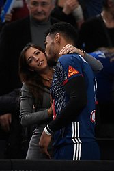 Dipanda Adrien and his girlfriend after 25th IHF men's world championship 2017 match between France and Slovenia at Accord hotel Arena on january 26 2017 in Paris. France. PHOTO: CHRISTOPHE SAIDI / SIPA / Sportida