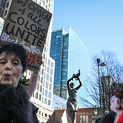 CHARLOTTE, NC - JANUARY 20, 2018:  Women and men gather in First Ward Park for the second annual Women's March in Charlotte, NC. Attendees witnessed 17 speakers following a mile long march through uptown Charlotte. (LOGAN CYRUS FOR AFP)