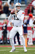 FAYETTEVILLE, AR - OCTOBER 24:  Sean White #13 of the Auburn Tigers drops back to pass during a game against  the Arkansas Razorbacks at Razorback Stadium Stadium on October 24, 2015 in Fayetteville, Arkansas.  The Razorbacks defeated the Tigers in 4 OT's 54-46.  (Photo by Wesley Hitt/Getty Images) *** Local Caption *** Sean White