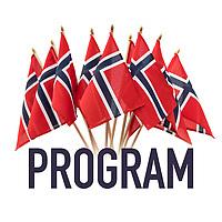 Ferdig grafikk egnet til 17. mai-feiring. Flaggbukett over tekst 'program'.