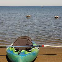 North America, Mexico, Loreto. Kayak on beach at Loreto.
