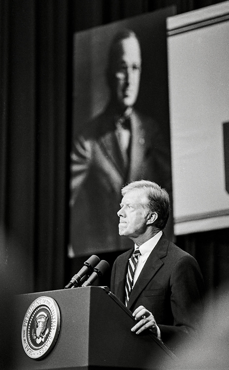 President Jimmy Carter at a Town Hall event in Independence, Missouri, September 2, 1980, during his re-election campaign.