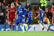 Willian of Chelsea (c) celebrates after scoring his teams 1st goal to make it 1-1. Premier League match, Liverpool v Chelsea at the Anfield stadium in Liverpool, Merseyside on Saturday 25th November 2017.<br /> pic by Chris Stading, Andrew Orchard sports photography.