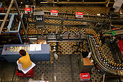 Ceske Budejovice/Czech Republic, CZE, 12.12.06: Filling plant for bottles. The beer is bottled (under an overpressure provided by carbon dioxide) in both returnable and non-returnable formats. The bottles are first washed after which their cleanliness and integrity is tested using optical electronic equipment. Once filled and crowned, the bottles are pasteurised.