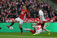 Zlatan Ibrahimovic of Manchester Utd goes past Jack Stephens of Southampton. EFL Cup Final 2017, Manchester Utd v Southampton at Wembley Stadium in London on Sunday 26th February 2017. pic by Andrew Orchard, Andrew Orchard sports photography.