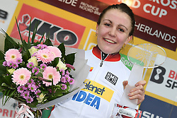 January 28, 2018 - Hoogerheide, NETHERLANDS - Dutch Fleur Nagengast wearing the yellow jersey of overal leader celebrates on the podium after the women U23 race of the World Cup cyclocross in Hoogerheide, the Netherlands, 9th and last stage of the UCI World Cup competition, Sunday 28 January 2018. BELGA PHOTO DAVID STOCKMAN (Credit Image: © David Stockman/Belga via ZUMA Press)