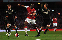 Photo: Tony Oudot.<br /> Arsenal v Manchester City. The Barclays Premiership. 17/04/2007.<br /> Abou Diaby of Arsenal goes past Dietmar Hamann of Manchester City while Michael Johnson looks on