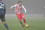 Stevenage midfielder Arthur Read(19) runs forward during the FA Cup match between Stevenage and Swansea City at the Lamex Stadium, Stevenage, England on 9 January 2021.