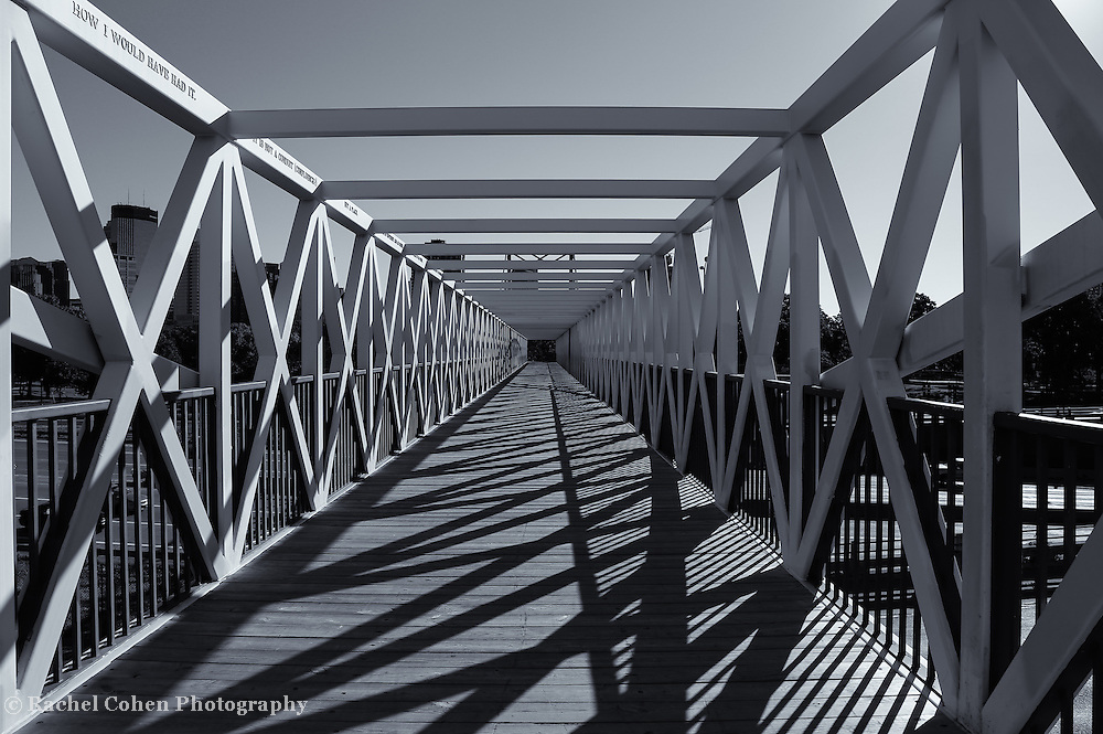 """""""Irene Hixon Whitney Bridge"""" mono<br /> <br /> Love the lines and shadows created by the beautiful geometry of this wonderful bridge in Minneapolis MN.!!<br /> <br /> Black and White Images by Rachel Cohen"""