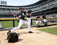 CHICAGO - JULY 03:  Dylan Cease #84 of the Chicago White Sox warms up in the bullpen prior to making his Major League debut against the Detroit Tigers on July 3, 2019 at Guaranteed Rate Field in Chicago, Illinois.  (Photo by Ron Vesely)  Subject:  Dylan Cease