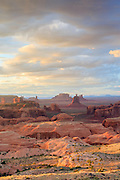 Sunrise over Monument Valley Navajo Tribal Park viewed from atop Hunt's Mesa