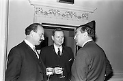 08/04/1963<br /> 04/08/1963<br /> 08 April 1963<br /> W.D. & H.O. Wills Reception for Mr John Ware at the Shelbourne Hotel, Dublin. Reception held on the departure of Mr. Ware and for his successor Mr. Mott. Picture shows (l-r): Donhall O'Morain, Chairman Gael - Linn; R. MacGabhann, manager and Mr. Ware. Mr Ware was about to go to Bristol to take up the job of Assistant to W.S.J. Carter who was succeeding to the post of Managing Director of the Firm.