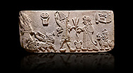"""Aslantepe Hittite Orthostat. Limestone, Aslantepe, Malatya, 1200-700 B.C. Anatolian Civilizations Museum, Ankara, Turkey.<br /> <br /> Scene of offering drink and sacrifice. The god, with a symbol of divinity above, is in the chariot while holding a boomerang in his hand and a sword at his waist. The same god holds a lightning bundle in the middle. On the right, the king offers a drink to god. The inscription above reads """"Great, powerful King Sulumeli"""". A servant stands behind holding a bull for sacrifice to the gods. Anatolian Civilizations Museum, Ankara, Turkey<br /> <br /> Against a black background.<br /> <br /> If you prefer to buy from our ALAMY STOCK LIBRARY page at https://www.alamy.com/portfolio/paul-williams-funkystock/hittite-art-antiquities.html . Type - Aslantepe - in LOWER SEARCH WITHIN GALLERY box. Refine search by adding background colour, place, museum etc.<br /> <br /> Visit our HITTITE PHOTO COLLECTIONS for more photos to download or buy as wall art prints https://funkystock.photoshelter.com/gallery-collection/The-Hittites-Art-Artefacts-Antiquities-Historic-Sites-Pictures-Images-of/C0000NUBSMhSc3Oo"""