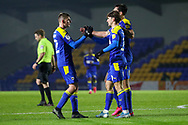 GOAL 1-0, AFC Wimbledon attacker Ryan Longman (29) during the EFL Trophy match between AFC Wimbledon and U21 Arsenal at Plough Lane, London, United Kingdom on 8 December 2020.