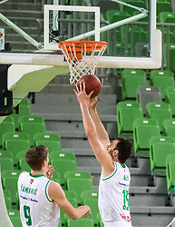 Mirza Begic of Petrol Olimpija and Luka Samanic of Petrol Olimpija during 2nd leg basketball match between KK Petrol Olimpija and KK Rogaska in quarter final of  Pokal SPAR 2018/19, on January 14, 2019 in Arena Stozice, Ljubljana, Slovenia. Photo by Matic Ritonja / Sportida