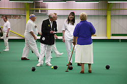 Competitors with disabilities taking part in a bowls event held at Solihull Indoor Bowls Centre,
