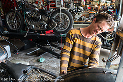 Cycle Zombies' Chase Stopnik in Scotty's garage. Huntington Beach, CA. USA. June 29, 2015.  Photography ©2015 Michael Lichter.