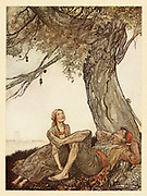 The Travellers and the Plane Tree from the book ' Aesop's fables ' Published in 1912 in London by Heinemann and in  New York by Page Doubleday Illustrated by Arthur Rackham,