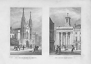 New churches Sloane Street, Chelsea, North Audley Street, engraving 'Metropolitan Improvements, or London in the Nineteenth Century' London, England, UK 1828