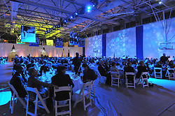 Bathed in Blue Light. Overview of The Blue Leadership Ball 2009, Yale University Department of Athletics. Event takes place at the William K. Lanman Center. Photo Credit: James R Anderson