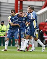 Photo: Richard Lane/Richard Lane Photography. Nottingham Forest v Cardiff City. Coca Cola Championship. 24/10/2008. Ross McCormack (2nd L) celebrates scoring from the spot