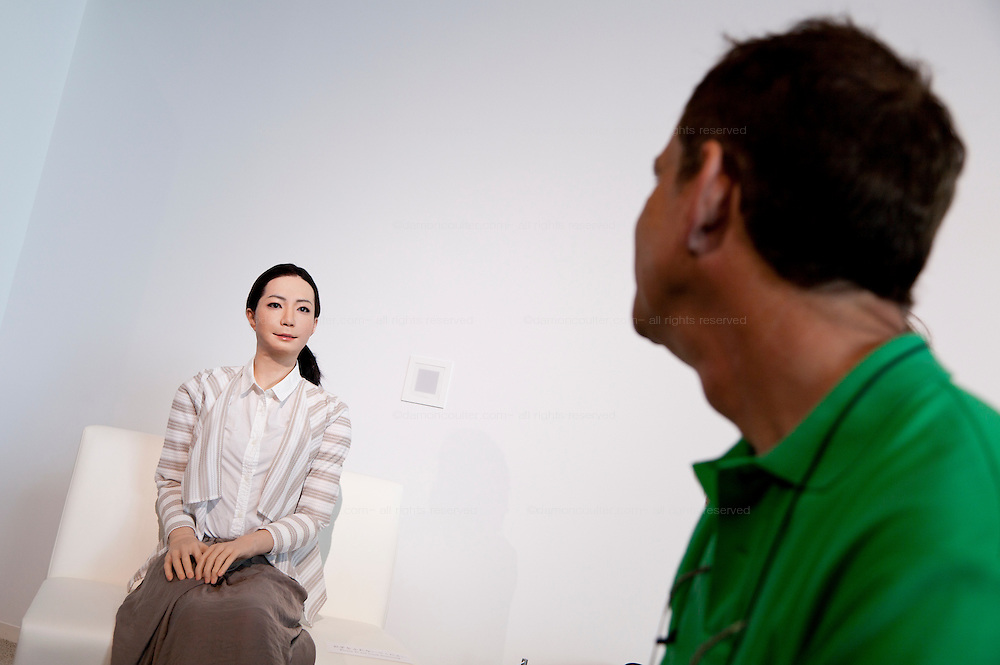 Otonaroid lifelike robot speaks to visitors at Miraiken Science Museum, Odaiba, Tokyo. Japan. Friday June 27th 2014. Created by Osaka robotics professor, Hiroshi Ishiguro the remotely-controlled android tests people interact with androids.