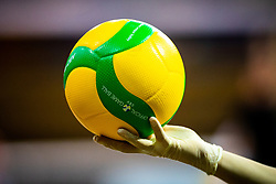 A ball and glove during volleyball match between Calcit Volley Kamnik vs LKS Commercecon Lodz in 2nd Round of CEV Champions League 2020/21, on October 14, 2020 in Sportna dvorana, Kamnik, Slovenia. Photo by Matic Klansek Velej / Sportida