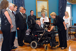 Chile's President Michelle Bachelet welcomes British physicist Stephen Hawking, at La Moneda presidential palace, in Santiago, Chile, on January 17, 2008. Photo by Balkis Press/ABACAPRESS.COM
