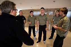 Diko Stevic, Andrej Hebar st., Jakob Milovanovic, Sabahudin Kovacevic, Robert Kristan and Ales Kranjc at meeting of Slovenian Ice-Hockey National team, on April 15, 2010, in Hotel Lev, Ljubljana, Slovenia.  (Photo by Vid Ponikvar / Sportida)