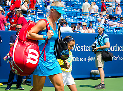 August 19, 2018 - Kiki Bertens of the Netherlands walks onto the court for the final of the 2018 Western & Southern Open WTA Premier 5 tennis tournament. Cincinnati, Ohio, USA. August 19th 2018. (Credit Image: © AFP7 via ZUMA Wire)