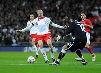 Photo: Tony Oudot/Richard Lane Photography. <br /> England v Switzerland. International Friendly. 06/02/2008. <br /> Philippe Senderos of Switzerland shadows the ball back to keeper Diego Benaglio
