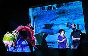 Berlin, Hochschule fur film und fernsehen Konrad Wolf, The Film & Television Academy (HFF) ?Konrad Wolf?, , da sn Urte, Ruth, Clemens, studenti di editing, alle prove con una loro installazione..Berlin, Hochschule fur film und fernsehen Konrad Wolf, The Film & Television Academy (HFF) ?Konrad Wolf?, , from left Urte, Ruth, Clemens, editing students, testing their new video installation