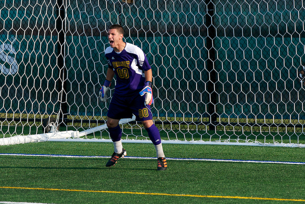 Catamounts goalie Conor Leland (00) in action during the men's soccer game between the Central Connecticut State University Blue Devils and the Vermont Catamounts at Virtue Field on Friday afternoon September 7, 2012 in Burlington, Vermont.