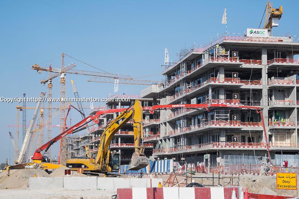 Construction of new luxury apartment buildings in Dubai United Arab Emirates