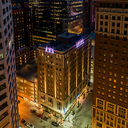 Drone's eye aerial view of Hotel Indigo - formerly Brookfield Building, downtown Kansas City, Missouri