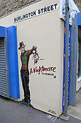 Street art wall painting, Weston-super-Mare museum, Somerset, England, UK 'A Nightmare to Remove' by JPS street artist