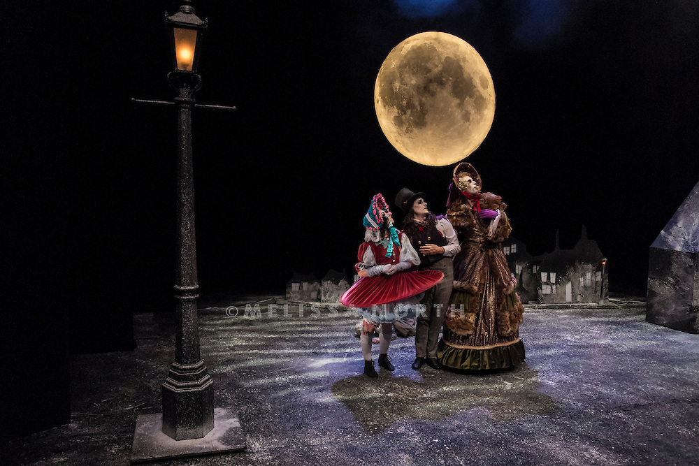 The cast of Arthur Pita's The Little Match Girl perform at a press photocall at The Lilian Baylis Studio, Sadler's Wells, London, UK, on Tuesday 16th December 2014. <br /> Featuring Corey Claire Annand as The Little Match Girl, Karl Fagerlund as The Lamp Man / Match Boy / Clementine De Magistis / The Astronaut,Angelo Smimmo as Fulvio Donnarumma/The Grandmother, Valentina Golfieri as Angelica Maria Donnarumma/Match Boy, and Frank Moon as Live Musician.