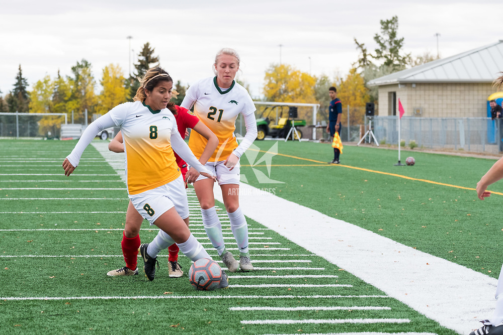 5th year midfielder Daniela Castro (8) of the Regina Cougars in action during the Women's Soccer Home Game on September 23 at U of R Field. Credit Matt Johnson/©Arthur Images 2017