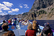 Tourists on Boat tour on Crater Lake, Crater Lake National Park, Oregon