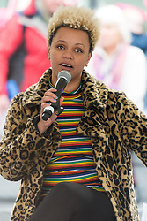 © Licensed to London News Pictures. 05/03/2017. GEMMA CAIRNEY takes part in a rally raising awareness of women and girls in third world countries who spend days walking for water. March also marks CARE's annual celebration for International Women's Day. London, UK. Photo credit: Ray Tang/LNP
