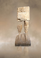 9th century BC Giants of Mont'e Prama  Nuragic stone statue of a warrior, Mont'e Prama archaeological site, Cabras. Museo archeologico nazionale, Cagliari, Italy. (National Archaeological Museum) - Art Background .<br />  <br /> If you prefer to buy from our ALAMY STOCK LIBRARY page at https://www.alamy.com/portfolio/paul-williams-funkystock/nuragic-artefacts.html - Type intoo the LOWER SEARCH WITHIN GALLERY box to refine search by adding background colour, etc<br /> <br /> Visit our NURAGIC PHOTO COLLECTIONS for more photos to download or buy as wall art prints https://funkystock.photoshelter.com/gallery-collection/Nuragic-Nuraghe-Towers-Nuragic-Artefacts-of-Sardinia-Pictures-Images/C0000M6ZtTuHVsSo