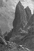 Cliffs of Jebel Katarina Wood engraving of from 'Picturesque Palestine, Sinai and Egypt' by Wilson, Charles William, Sir, 1836-1905; Lane-Poole, Stanley, 1854-1931 Volume 4. Published in 1884 by J. S. Virtue and Co, London