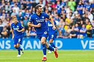 Cardiff City forward Kieffer Moore  (10) in action during the EFL Sky Bet Championship match between Cardiff City and Bournemouth at the Cardiff City Stadium, Cardiff, Wales on 18 September 2021.