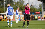 Referee Darren Bond rules out Sheffield Wednesday midfielder George Boyd's (21) goal for offside during the EFL Sky Bet Championship match between Burton Albion and Sheffield Wednesday at the Pirelli Stadium, Burton upon Trent, England on 26 August 2017. Photo by Richard Holmes.