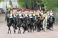 LONDON - JUNE 05: The Blues and Royals; The Household Cavalry Mounted Regiment , The Queen's Diamond Jubilee, The Mall, London, UK. June 05, 2012. (Photo by Richard Goldschmidt)