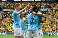 Goal - Gabriel Jesus (33) of Manchester City celebrates scores a goal to give a 4-0 lead during the The FA Cup Final match between Manchester City and Watford at Wembley Stadium, London, England on 18 May 2019.