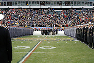 6 Dec 2008: Army Cadets and Navy midshipmen line a corridor on the field for President George W Bush to cross over from the Army sideline to the Navy Sidline for the second half of the game during the Army / Navy game December 6th, 2008. At Lincoln Financial Field in Philadelphia, Pennsylvania.