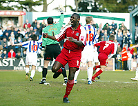 Photo: Chris Ratcliffe.<br />Colchester United v Southend United. Coca Cola League 1. 04/03/2006.<br />Shaun Goater of Southend celebrates Freddie Eastwood's opening goal.