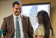 Principal Steve Guererro participates in a design charrette for Austin High School, April 24, 2015.